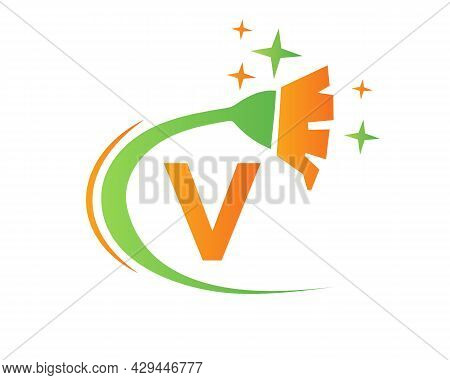 Cleaning Logo With V Letter Concept. House Clean And Broom Logo. V Letter Maid Logo Design