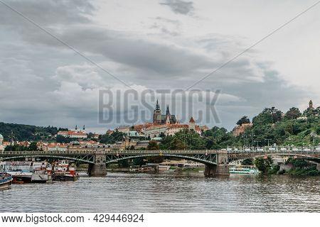 Scenic Panorama Of Beautiful Prague Castle,saint Vitus Cathedral,cechuv Bridge Over Vltava River.fam