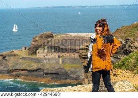 A Young Breast At The Fort Des Capucins A Rocky, Clifftop Islet In The Town Of Roscanvel On The Croz