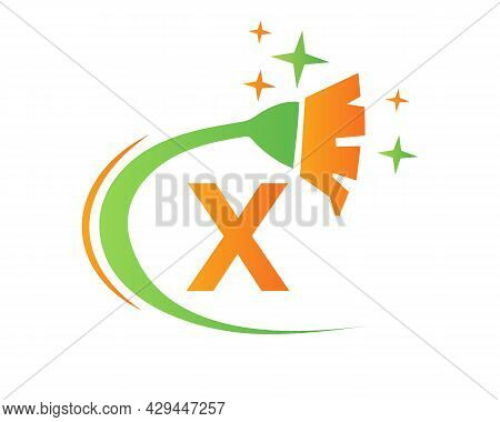 Cleaning Logo With X Letter Concept. House Clean And Broom Logo. X Letter Maid Logo Design