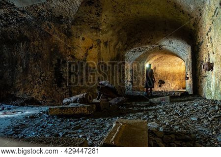A Young Man In The Bunker In The Basement At The Fort Des Capucins A Rocky Islet Located In The Atla