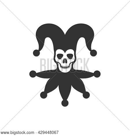 Skull In Jester Cap Graphic Icon. Joker Vintage Sign Isolated On White Background. Buffoon Symbol. V