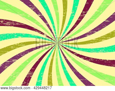 Retro Background With Curved, Rays Or Stripes In The Center. Rotating, Spiral Stripes. Sunburst Retr