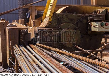 Reinforcement Cutting Machine. Equipment For Metal Processing At A Construction Site. Preparation Of