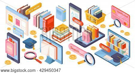 Set Of Essential Library Reading Elements On White Background. Reading Dictionary In Library. Librar