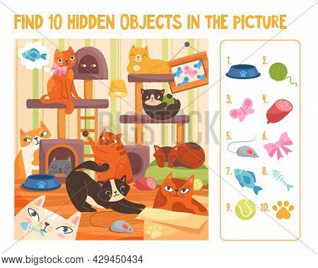Colorful Papersheet Game Find 10 Hidden Objects In The Picture. Hidden Items With Cute Funny Colorfu