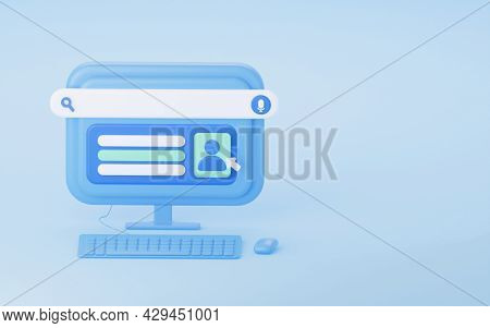 The Concept Of Online Registration Of A User Account. 3d Rendering. A Computer With A Keyboard And A