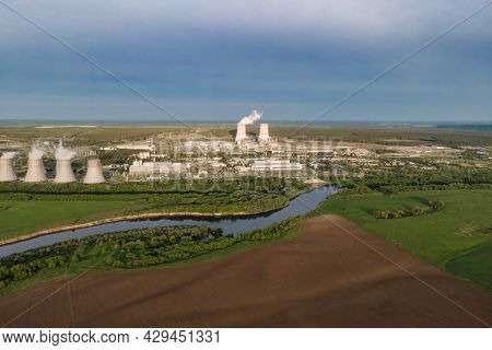 Nuclear Power Plant Generate Nuclear Power Or Electricity. Sources Of Electricity With Low Carbon Fo