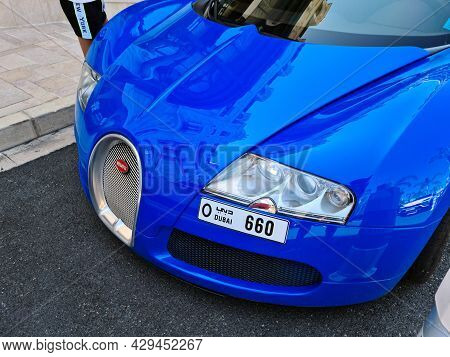 Monte-carlo, Monaco - August 1, 2021: Blue Bugatti Veyron 16.4 Luxury Supercar Parked In Front Of Th
