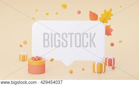 Autumn Mock-up Of A Speech Bubble With Gifts On An Orange Pastel Background. 3d Rendering