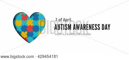 Autism Awareness Day Banner With Heart Of Colorful Puzzles