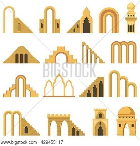Moroccan Contemporary Abstract Geometric Architecture Arch Elements. Modern Aesthetic Stairs, Walls,