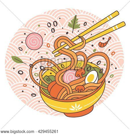 Doodle Ramen Noodles Bowl Oriental Japanese Traditional Cuisine. Hand Drawn Meat Broth Tasty Ramen N