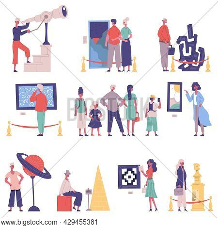 Art Gallery, Museum Exhibition Visitors And Guide Characters. Museum Showpiece Exhibition Cartoon Ve