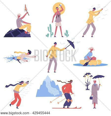 People Hit Meteorological Natural Cataclysm Weather Disasters. Characters Escape From Strong Wind An