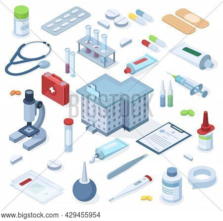 Healthcare Pharmacy Isometric First Aid Kit Supplies. Healthcare Medical Pharmacy, Drugs, Bandage, S