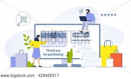People Buying Online Concept Illustration. Woman Doing Purchases Using Computer And Having Credit Ca