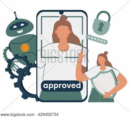 Data Access And User Experience Abstract Concept Vector Illustration. Personification, Verification