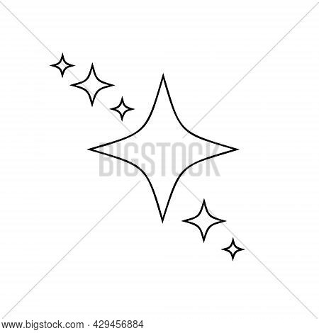Outline Stars Sparkles And Twinkles Icons Isolated On White Background. Bright Flash, Shiny Glow, Fi