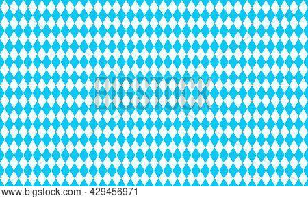 Traditional Oktoberfest Pattern With Blue And White Rhombus. Bavarian Lozenge Seamless Background. B