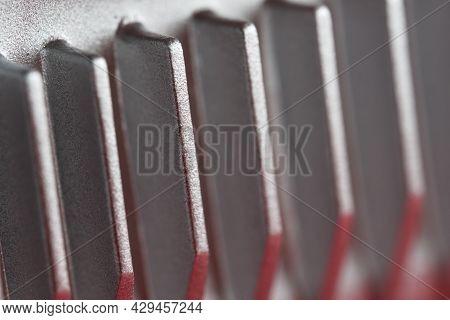 Aluminium Or Aluminum Heat Sink Cooling Fins. Full Frame Super Macro Close Up, Showing Metal Detail