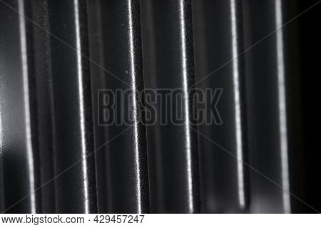 Abstract Metal Texture Detail From The Cooling Fins Of A Drone Gimbal Heat Sink. Aluminum Or Alumini