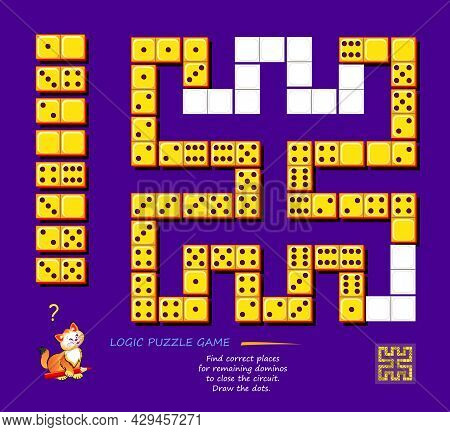Logic Puzzle Game For Children And Adults. Find Correct Places For Remaining Dominoes To Close The C