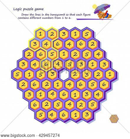 Logic Puzzle Game For Children And Adults. Draw The Lines In The Honeycomb So That Each Figure Conta