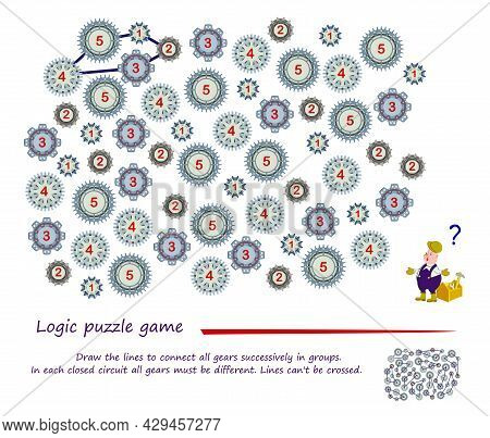 Logic Puzzle Game. Draw The Lines To Connect All Gears Successively In Groups. In Each Closed Circui