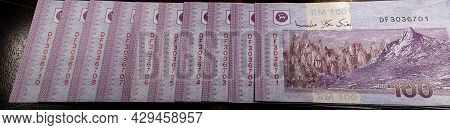 Panorama  Close Up Of One Hundred Ringgit Malaysia. Detailed Macro Capture Of Brand New Rm 100 With