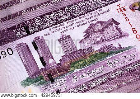 Macro Photography Of 500 Sri Lanka Rupee Or Rupie. Paper Currency Of The Republic Sri Lanka. Money O