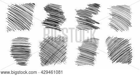 Pen Sketch Hatching. Pen Freehand Hatching Pen Scribbles Set Black Line Sketching. Pen Drawing Illus