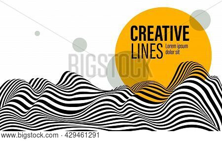 Abstract Vector 3D Lines With Yellow Circle Background, Black And White Curves Linear Perspective Di