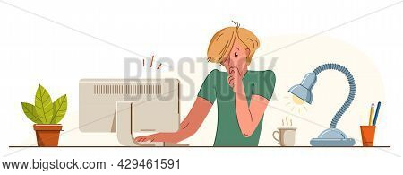 Young Man Alarmed In Problem Working On A Project In Stress Vector Flat Illustration Isolated, Urgen
