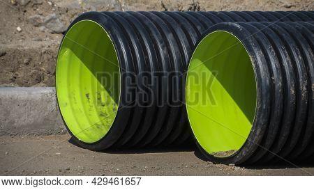Plumbing Tubes. Big Plastic Tube Pipe. Plumbing Tubes Close-up.