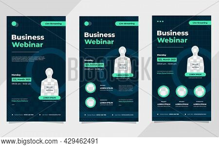 Collection Of Business Webinar Social Media Stories Post Templates On Navy Blue And Green Background