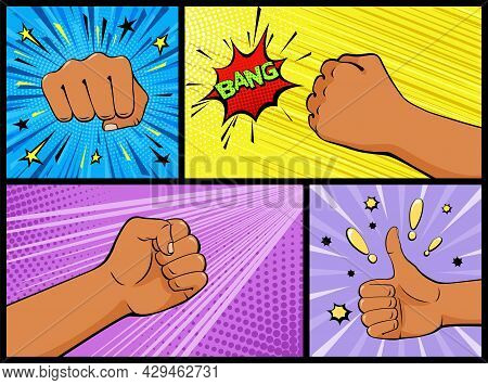 Fist Beats, Clenched Fist And Thumb Gesture. Fist Hitting, Fist Punching And Comic Speech Bubble Ban