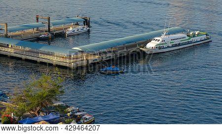 Labuan,malaysia-july 6,2019:labuan International Ferry Terminal With Passenger Ferry In Labuan Ft,ma