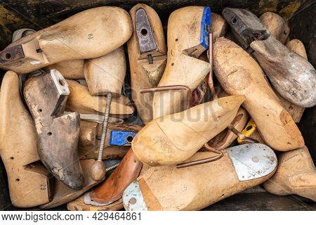 Vintage Antique Wooden Cobbler's Shoe Lasts and Stretchers. Shoe repair concept.