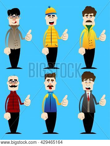 Funny Cartoon Man Dressed For Winter Making Thumbs Up Sign. Vector Illustration.