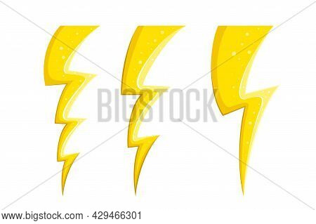 Electric Lightnings And Thunderbolts In Comic Style. Cartoon Lightnings Set. Vector Illustration Iso