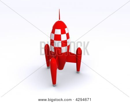A Big Red Retro Rocket Toy