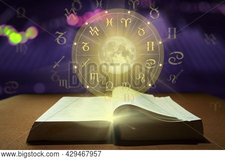 Book Of Zodiac Sign Wheel Of Fortune And Constellation Study For Foretell Education Course.