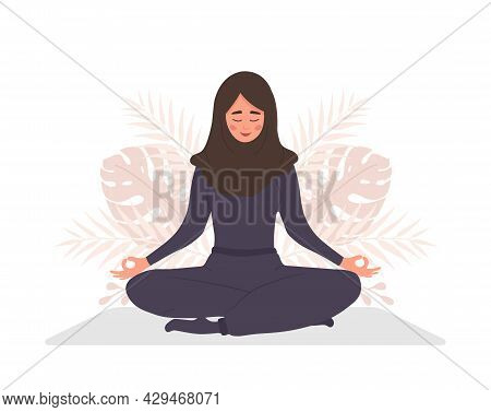 Abdominal Breathing. Arab Woman Practicing Belly Breathing For Relaxation. Breath Awareness Yoga Exe