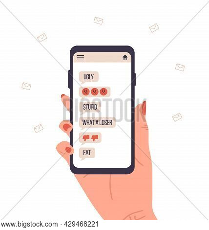 Cyber Bullying. Female Hand Holding Smartphone With Pop Up Messages On Screen. Online Abuse Concept.