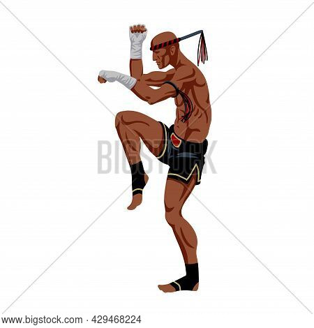 Muay Thai Boxer With A Traditional Amulet On His Hand, An Ancient Cruel Sport, Protective Stance, Co