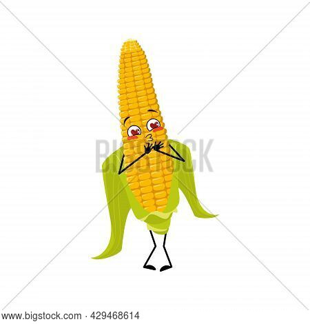 Cute Corn Cob Character Falls In Love With Eyes Hearts, Kiss Face, Arms And Legs. Funny Yellow Veget