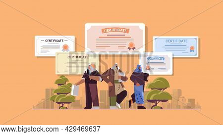 Arab Graduated Businesspeople Holding Certificates Graduates Celebrating Academic Diploma Degree Cor