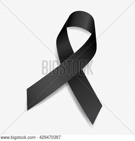 Black Ribbon Awareness Accidents, Anti-terrorism, Insomnia, Melanoma, Memorials, Skin Cancer. Isolat