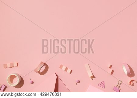 Top View Photo Of School Supplies Pink Stationery Adhesive Tapes Pushpins Binder Clips On Isolated L
